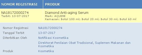 Aquene Diamond Serum Anti Aging Terbaik bpom