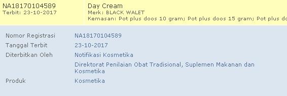 Krim walet siang bpom